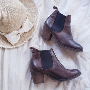 Brown Leather Ankle Chelsea wooden heeled boots
